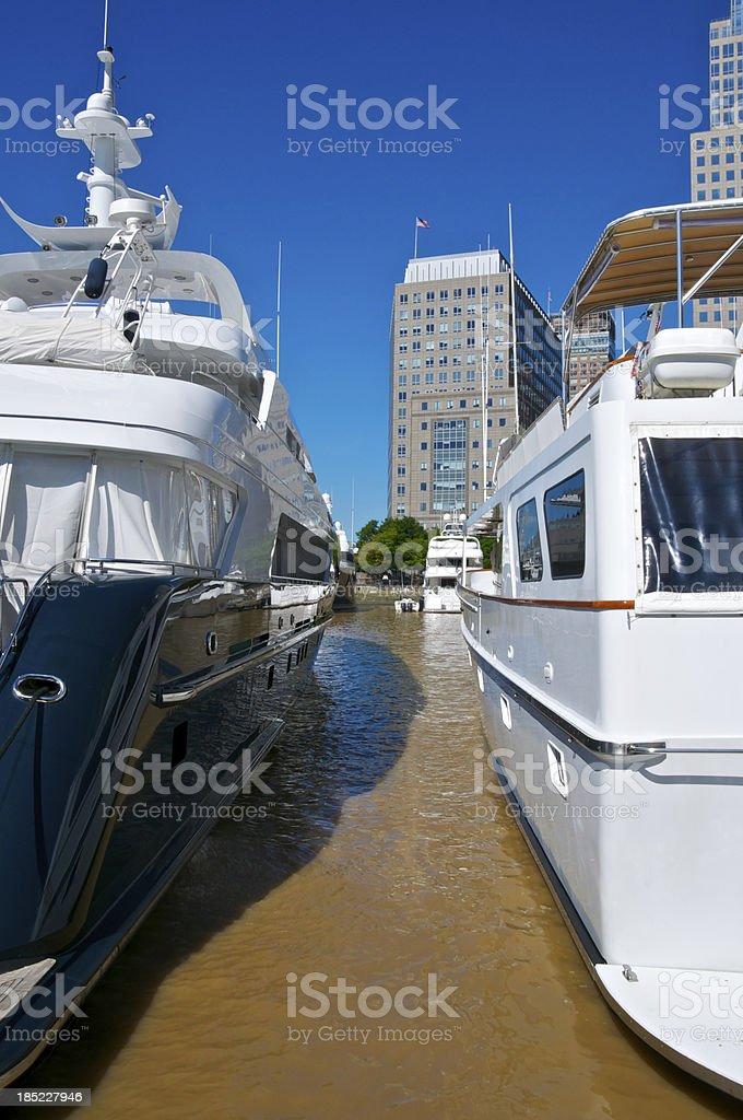 Luxury Yachts docked, North Cove Marina, Battery Park City, Manhattan royalty-free stock photo