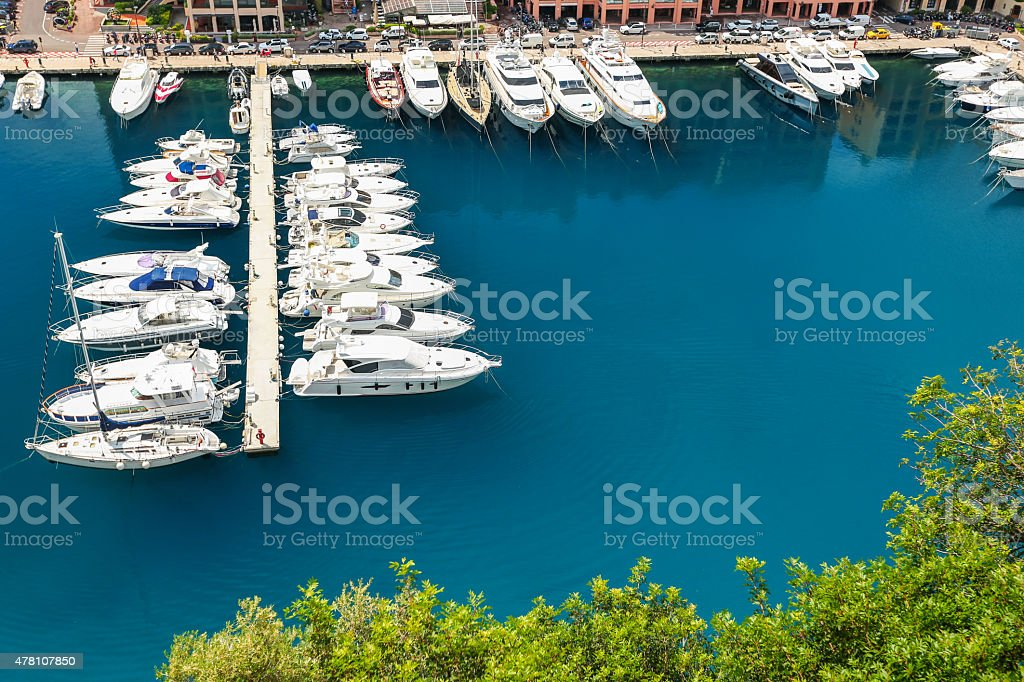 Luxury yachts dropped anchor in seaport of Monte Carlo, Monaco stock photo
