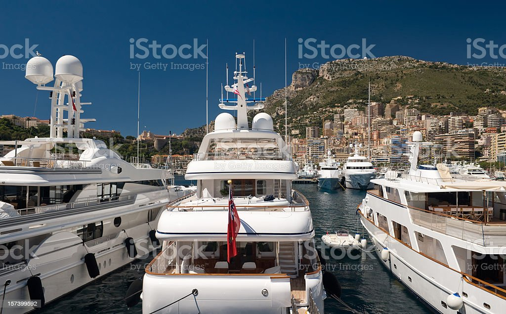 Luxury Yachts in Monaco Monte Carlo Harbour royalty-free stock photo
