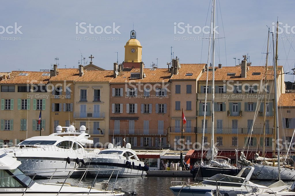 luxury yachts in the port of saint-tropez royalty-free stock photo