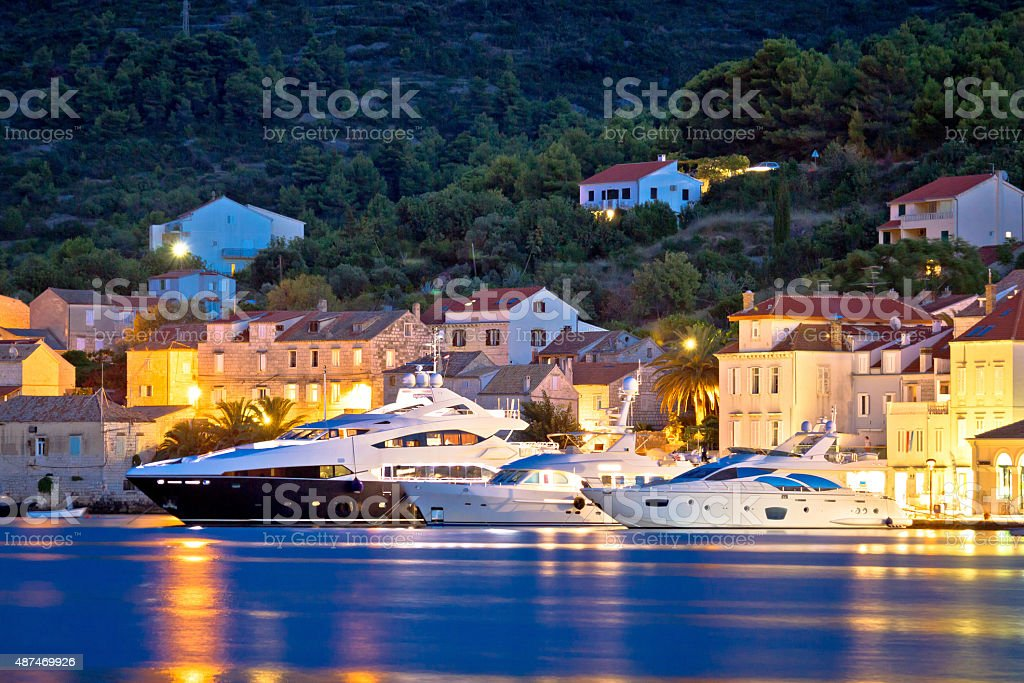 Luxury yachts in Town of Vis waterfront stock photo