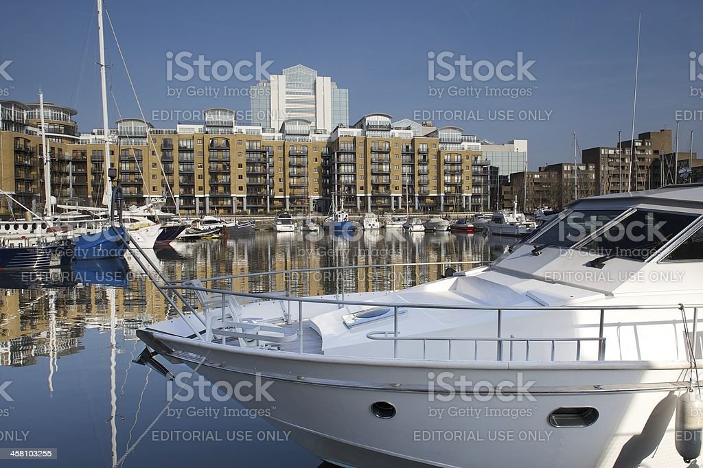 Luxury yachts moored at St Katherine Docks, London, UK stock photo
