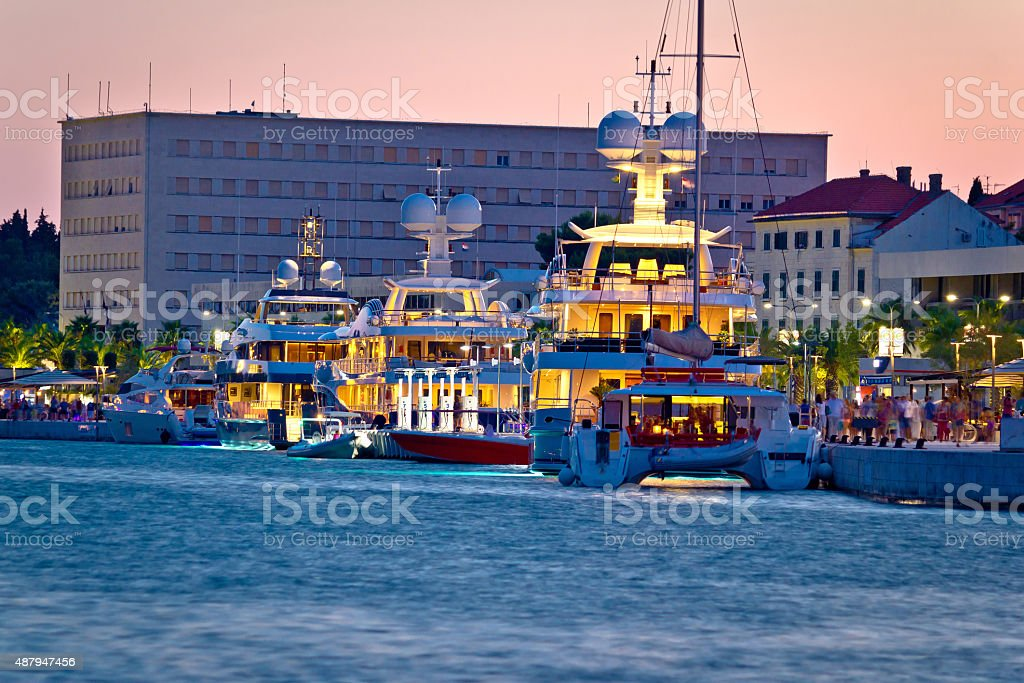 Luxury yachts on Split waterfront evening view stock photo