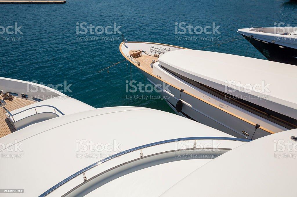 Luxury yachts stock photo