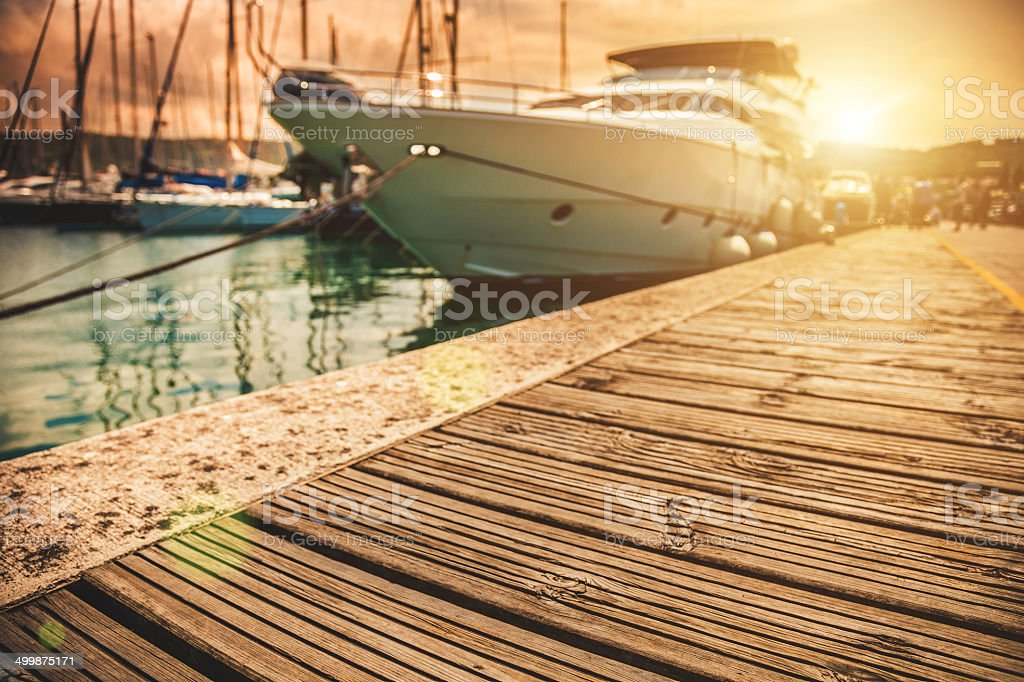 Luxury Yatch in port stock photo