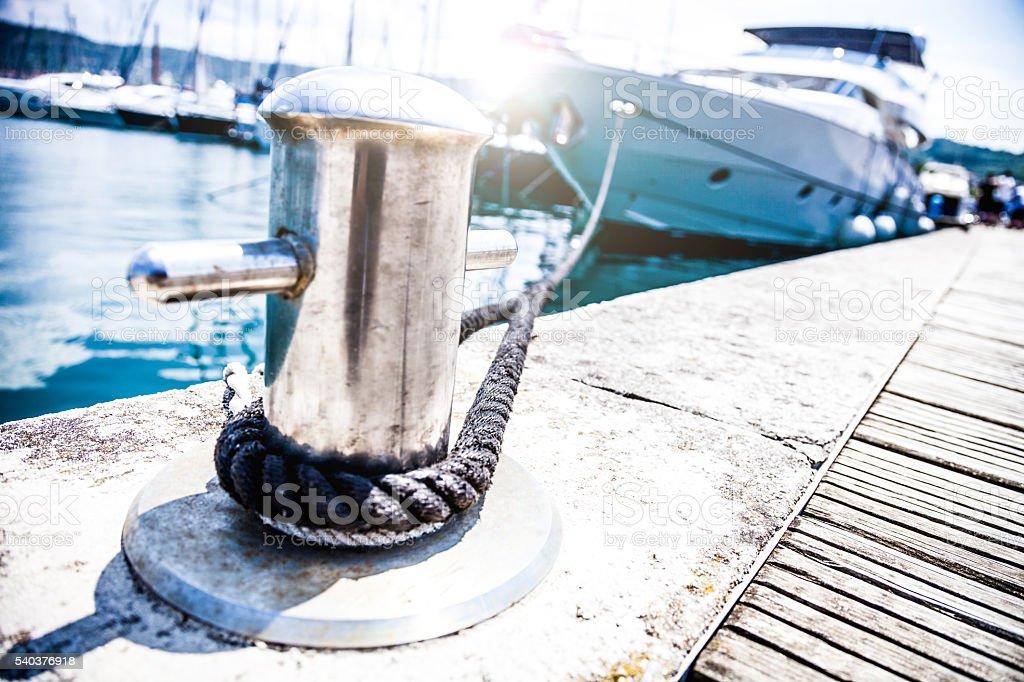Luxury Yatch in port stock photo