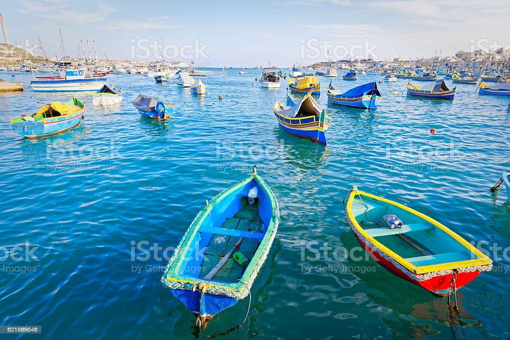 Luzzu anchored in Malta stock photo
