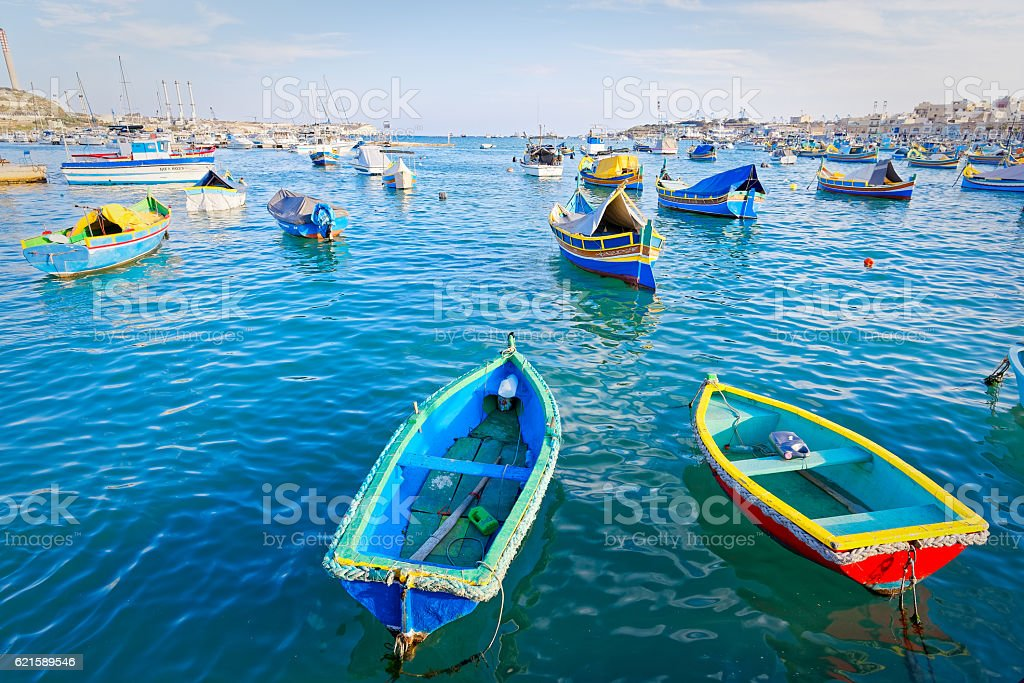 Luzzu anchored in Malta stock photo