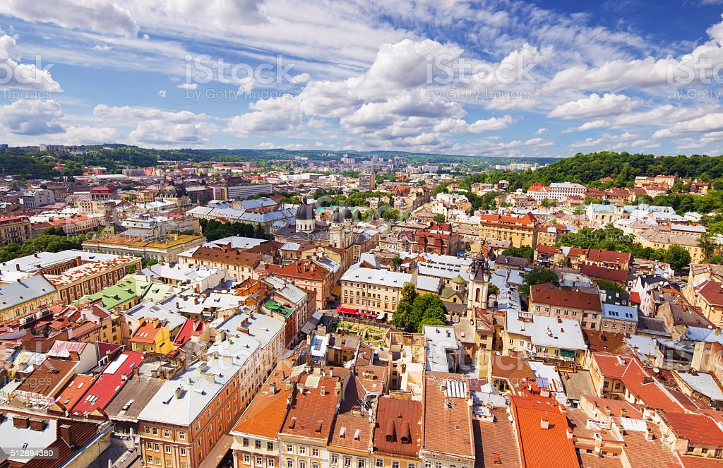 Lviv bird's-eye view of from of the City Hall, Ukraine stock photo