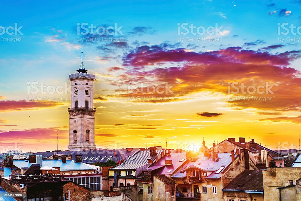 Lviv cityscape stock photo