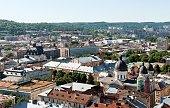 Lviv  vintage panorama with houses roofs top view, Lviv, Ukraine.