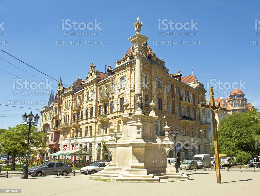 Lvov, Cathedral square stock photo