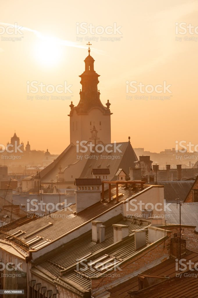 Lvov skyline at sunset stock photo