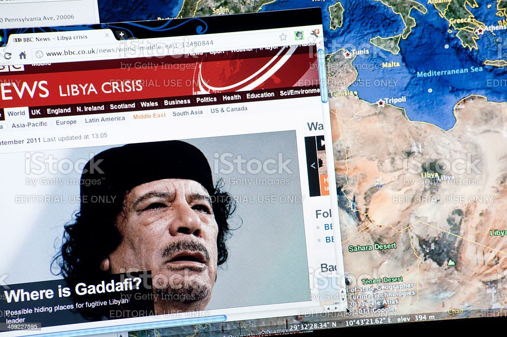 Lybian Crisis on BBC and Map of Lybia stock photo