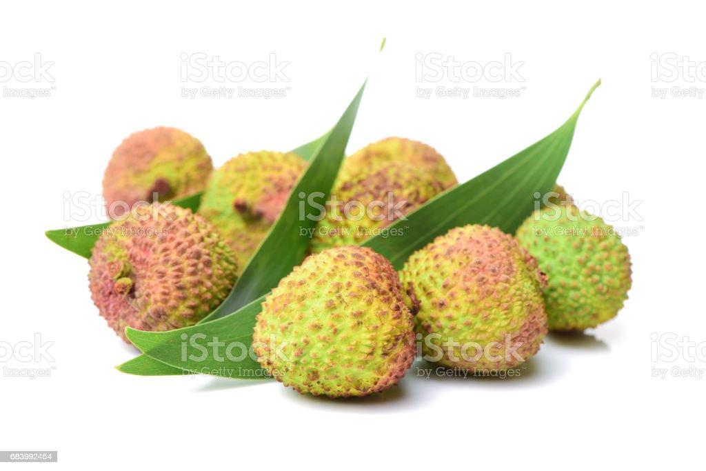 Lychee fruit  on white background stock photo