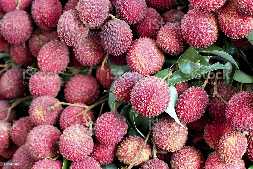 Lychee or litchi at fruit market royalty-free stock photo