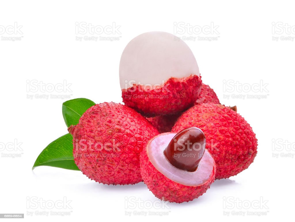 lychee with leaves isolated on white background stock photo