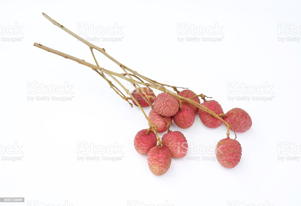 Lychees isolated on white background. stock photo