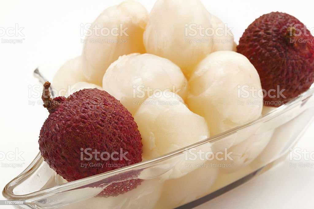 lychees on white background royalty-free stock photo