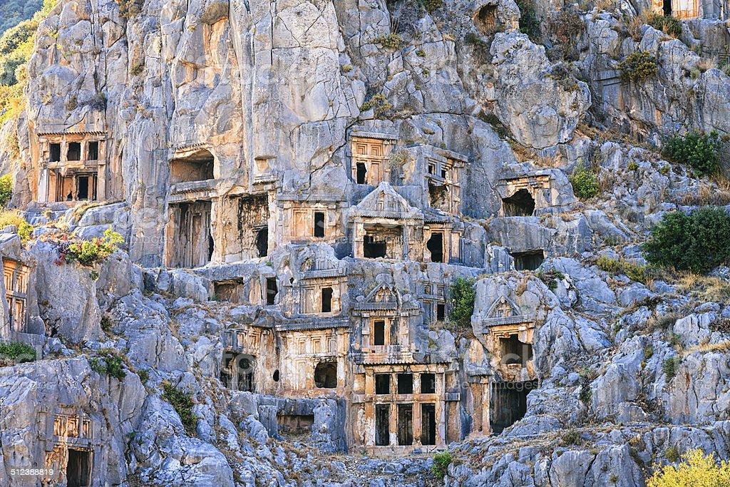 Lycian Rock tombs in Myra, Demre, Turkey stock photo