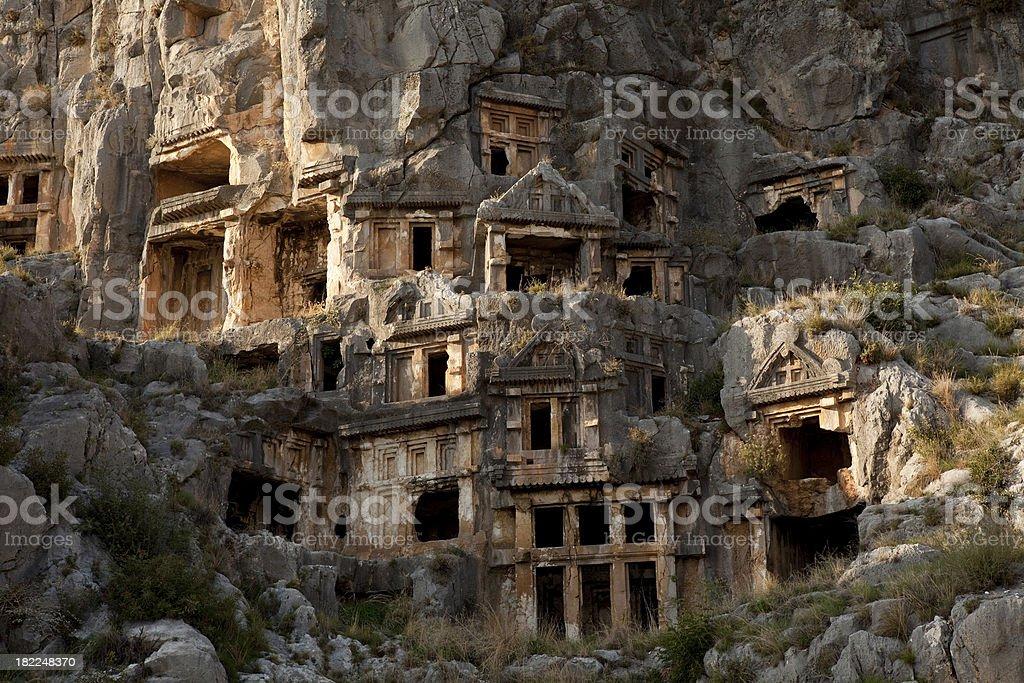 Lycian Rock Tombs Of Myra royalty-free stock photo