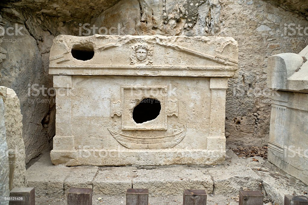 Lycian tomb in ancient Lycian town of Olympos (Ciraly, Turkey) stock photo