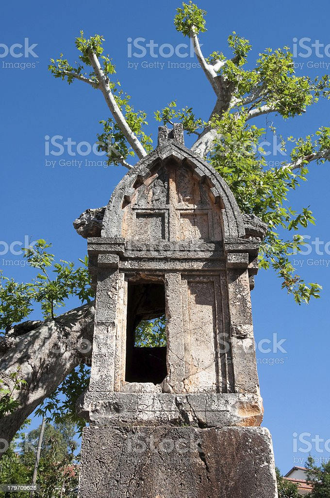 Lycian tomb in the village Kas (Turkey) royalty-free stock photo