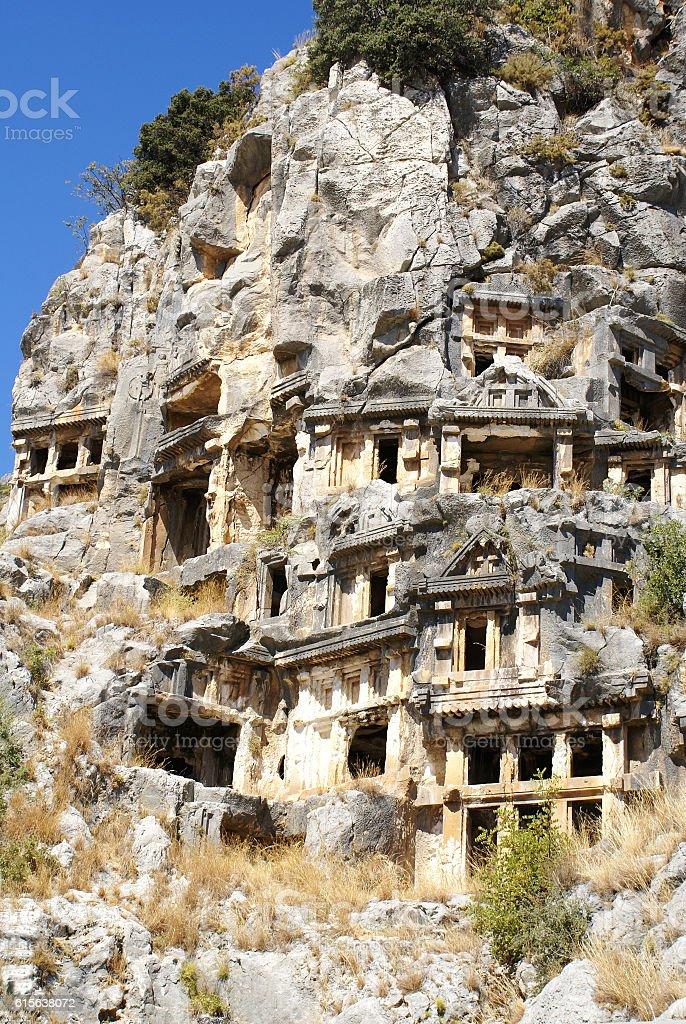 Lycian tombs. stock photo
