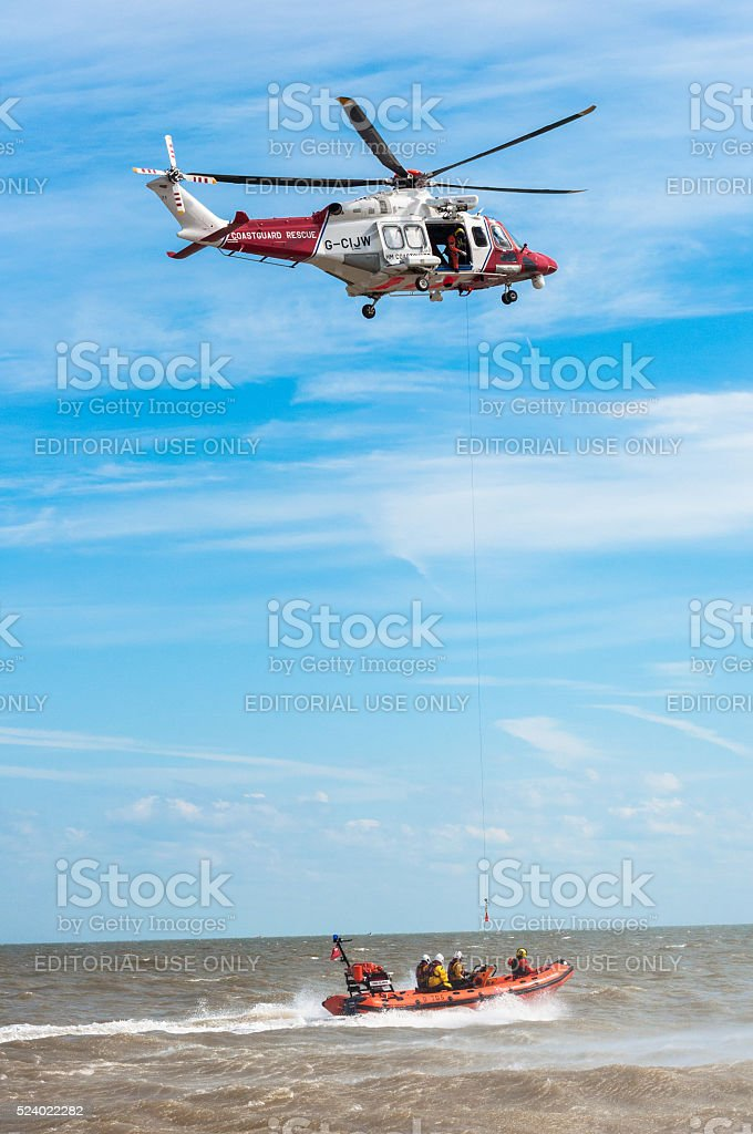 Lydd Civilian Search and Rescue Helicopter with RNIL Gratestone stock photo