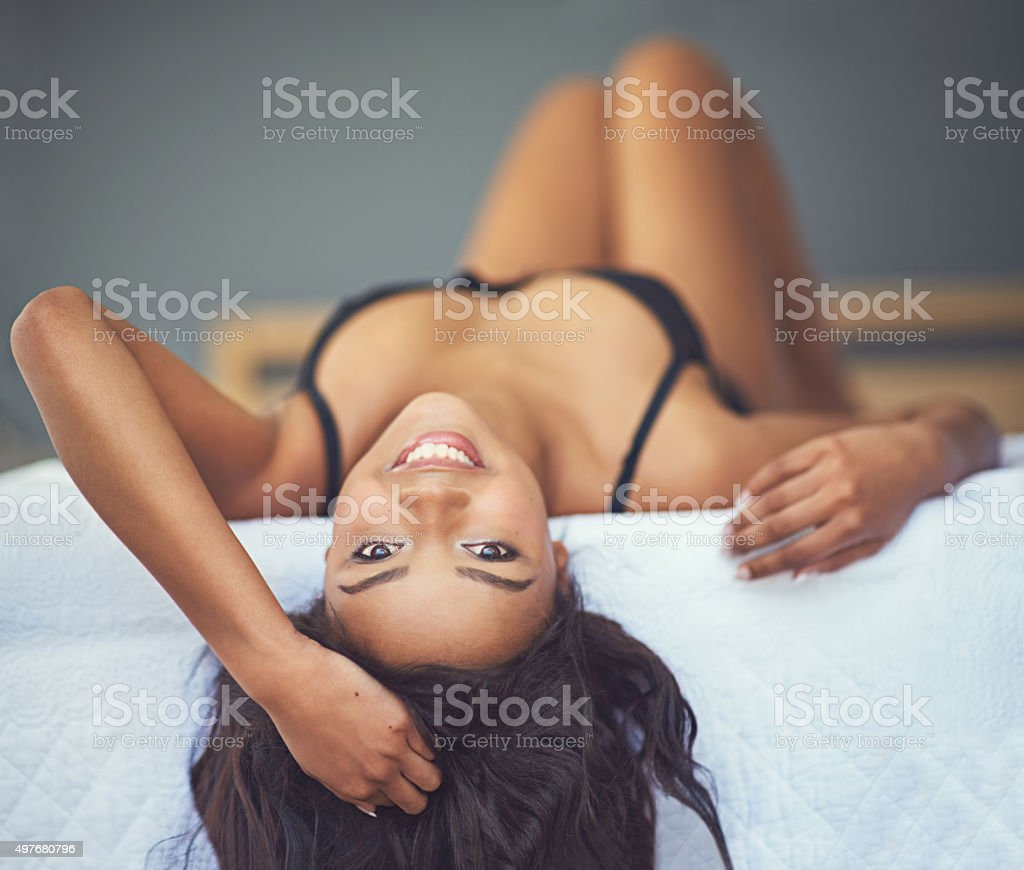 Lying around in my lingerie stock photo