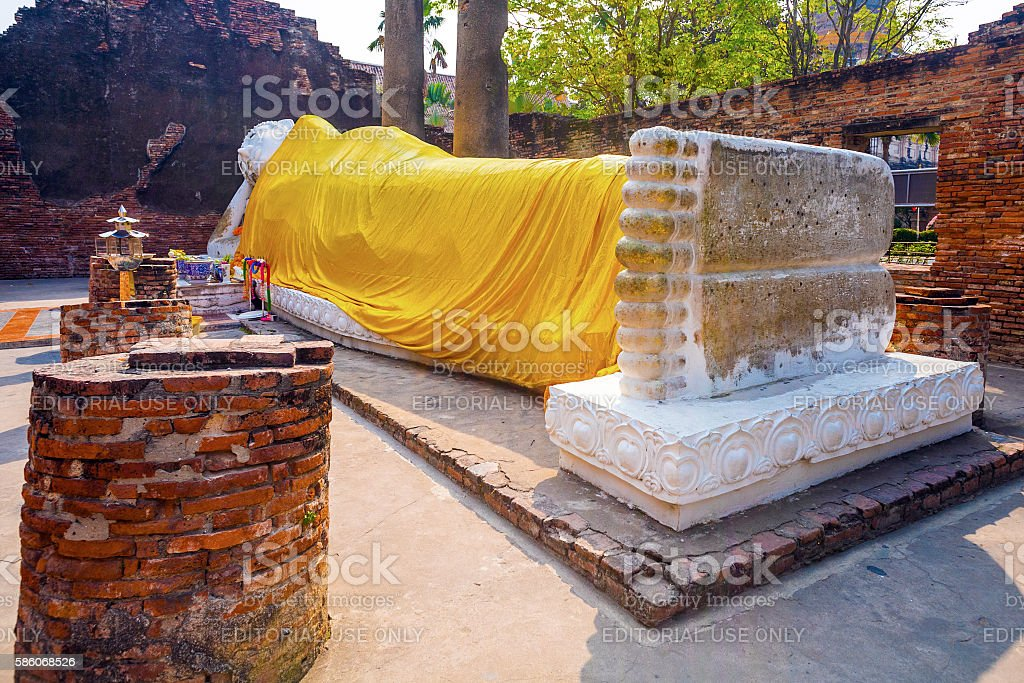lying Buddha in temple Wat Yai Chai-mong stock photo