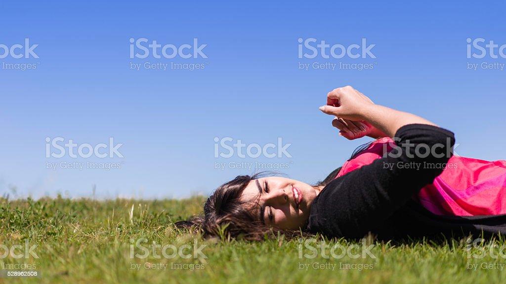 Lying down stock photo