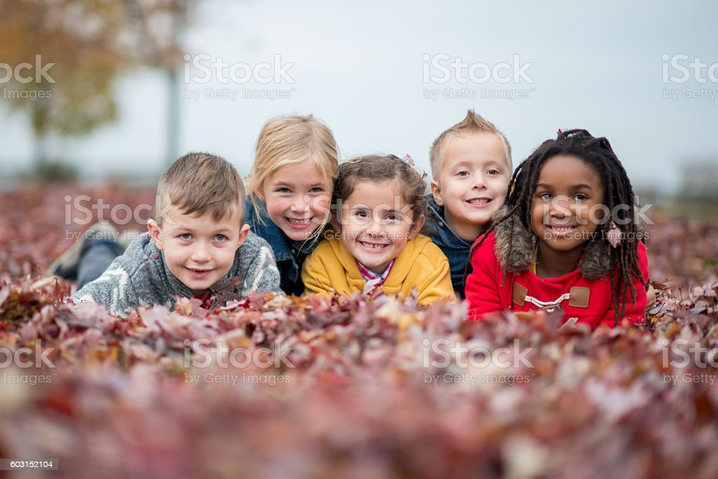 Lying in a Pile of Leaves stock photo