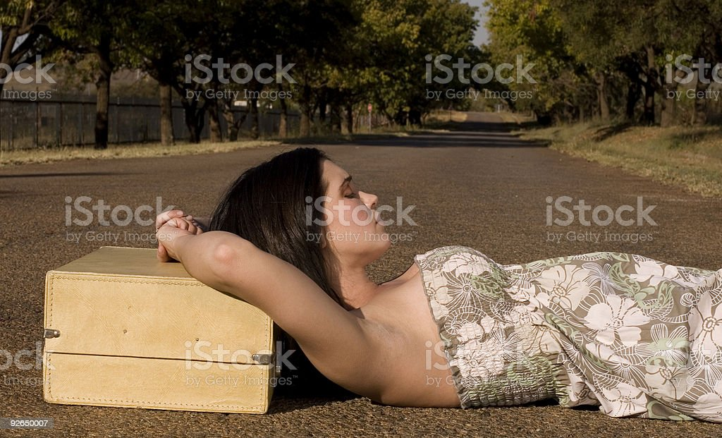 Lying in the road closeup royalty-free stock photo