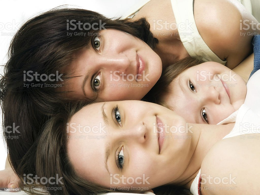 Lying mother and two daughters royalty-free stock photo