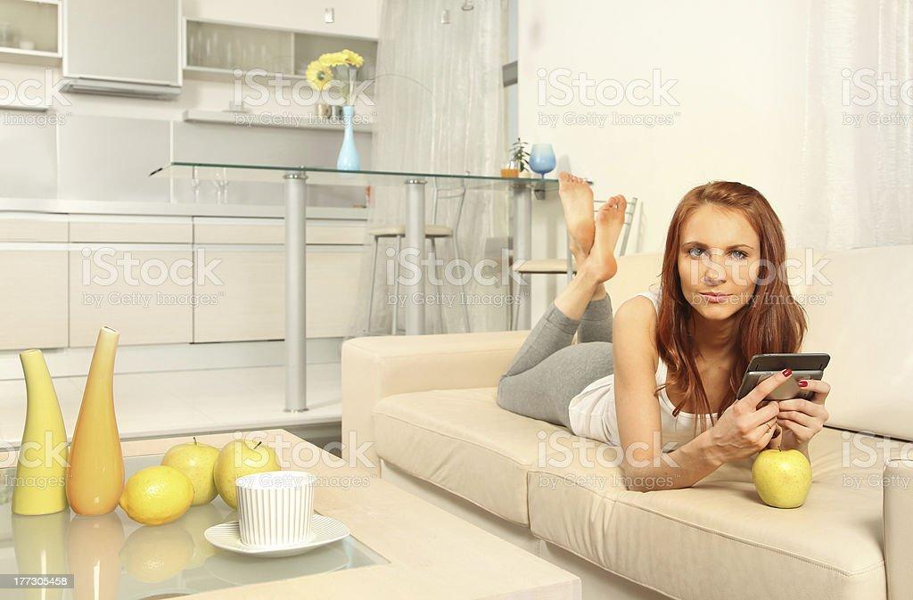lying on sofa royalty-free stock photo