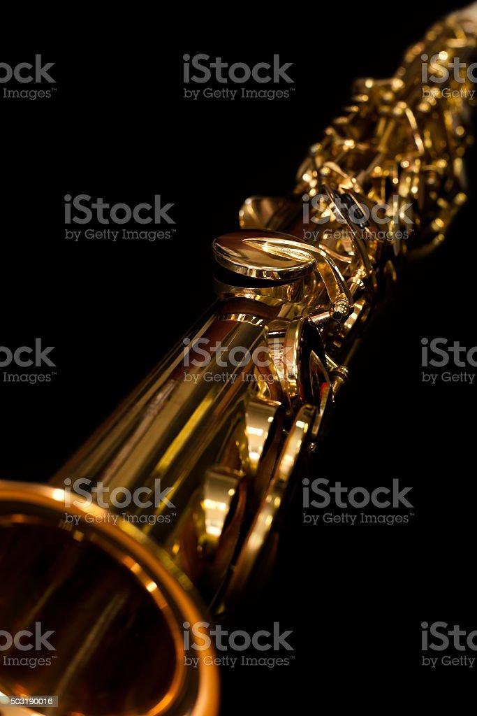 Lying soprano sax closeup stock photo