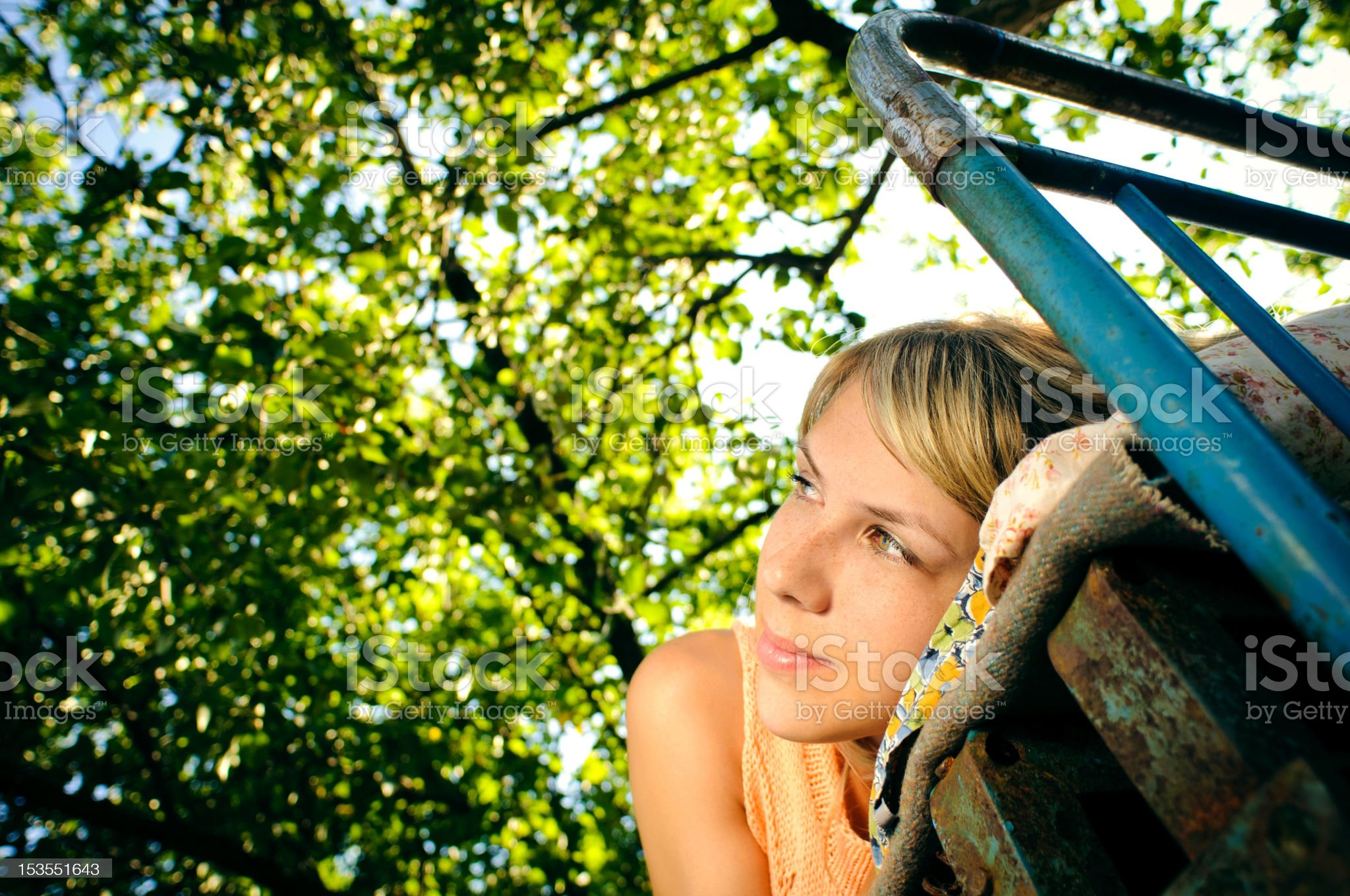 lying woman outdoors royalty-free stock photo
