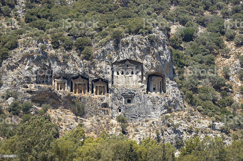 Lykian Rock Tombs royalty-free stock photo