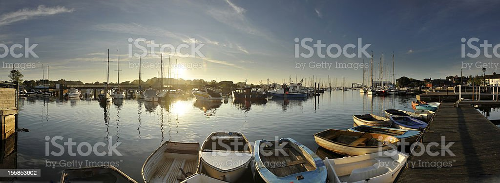 Lymington Harbour at dawn stock photo