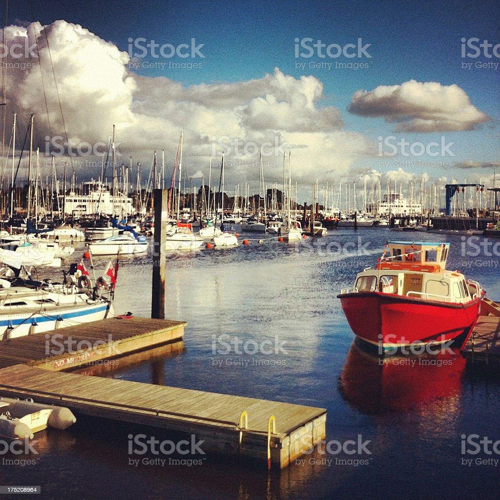 Lymington harbour in Hampshire, England stock photo