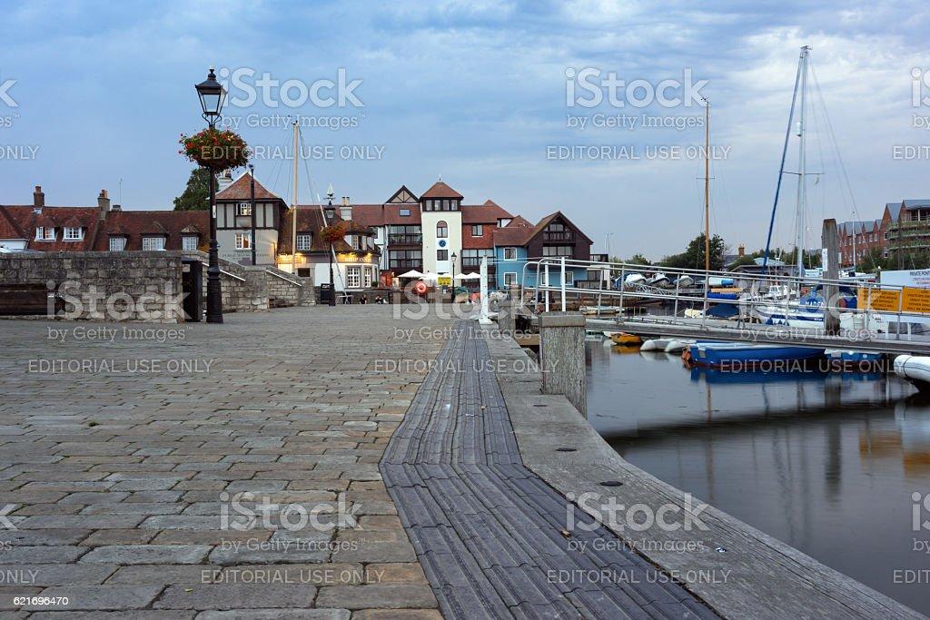 Lymington Quay and harbour stock photo