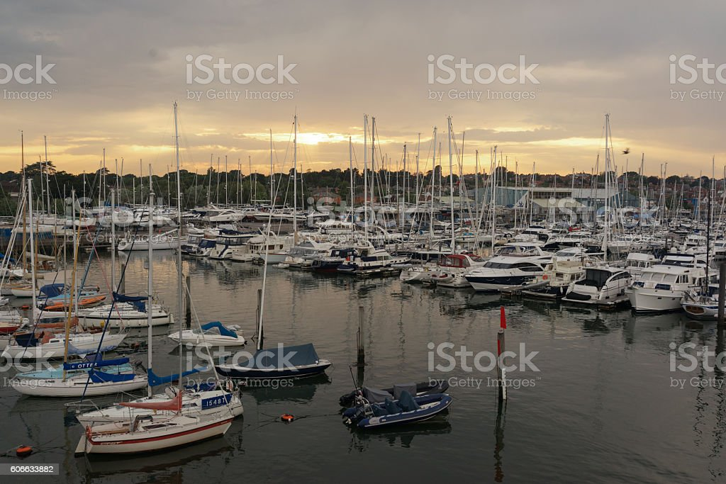Lymington Quay in Hampshire, UK stock photo