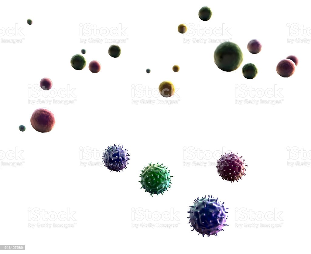 lymphocytes and viruses stock photo