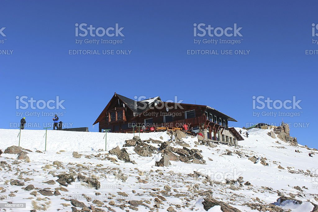 Lynch Refuge at the top of Andes - Patagonia stock photo
