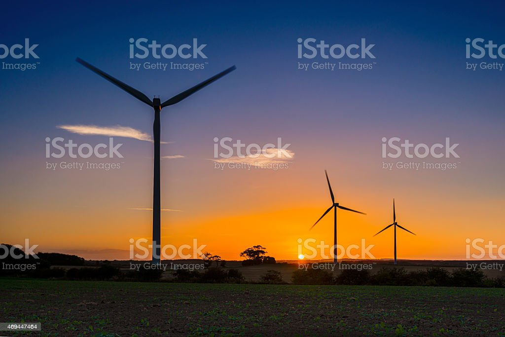 Lynemouth wind turbines royalty-free stock photo