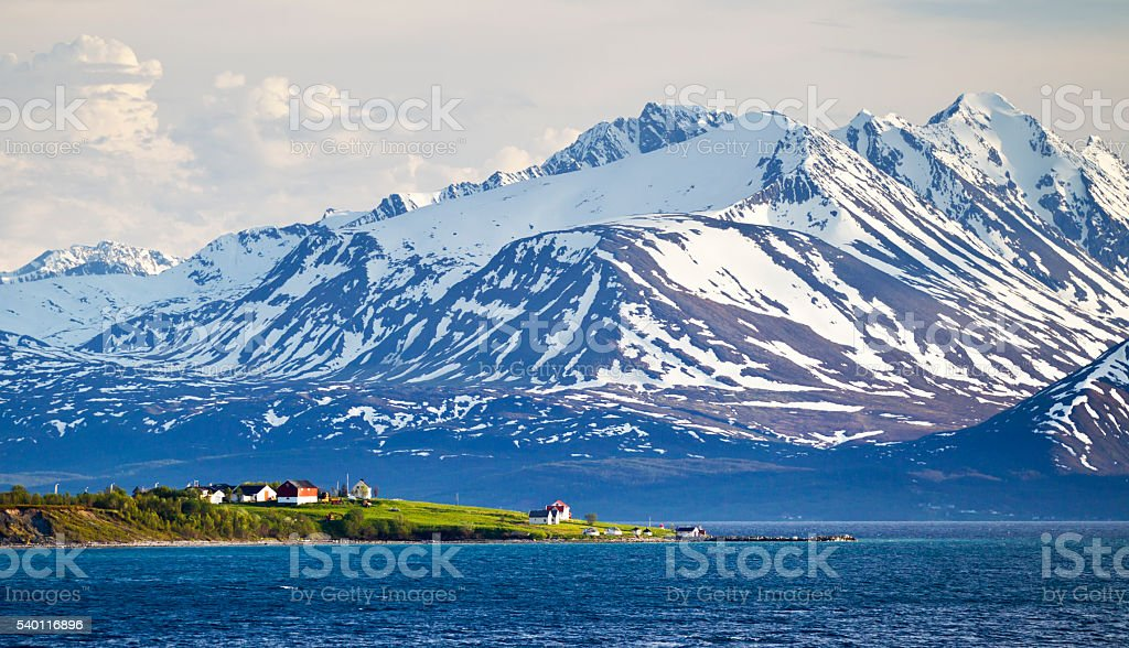 Lyngen Alps and Lyngen Fjord in Tromso County Norway stock photo