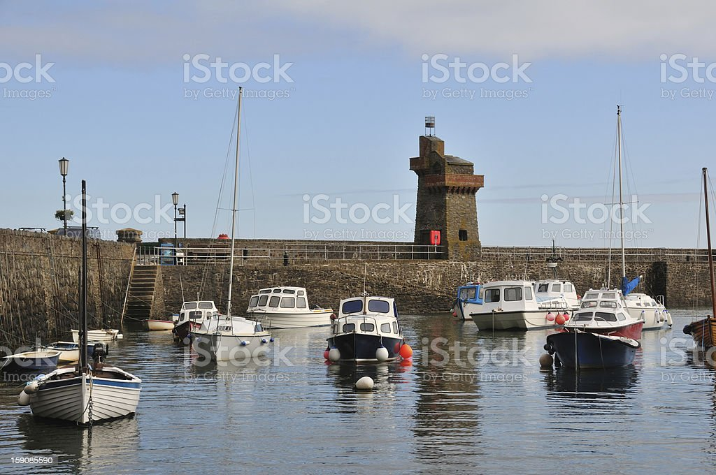 Lynmouth high tide. stock photo