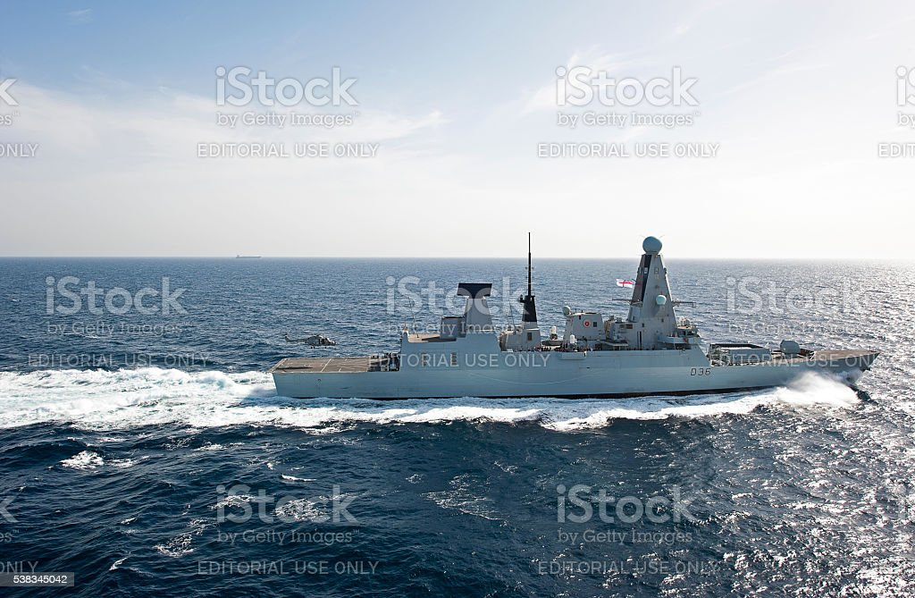 Lynx to land on Type 45 Destroyer, Arabian Sea stock photo