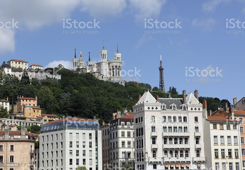 Lyon and Fourvière basilica, France stock photo